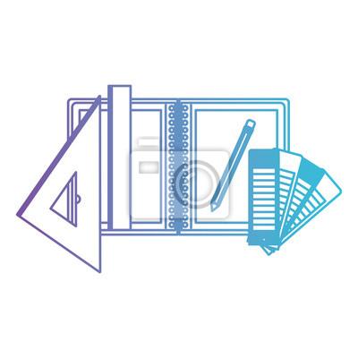 Zeichnen Sie Notebook Lineal Bleistift Schule Buro Zeichnen Werkzeug