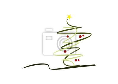 Moderner Weihnachtsbaum.Fototapete Zeichnung Abstrakter Moderner Weihnachtsbaum