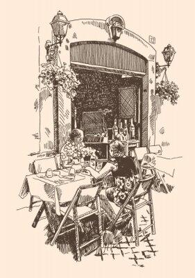Fototapete Zeichnung des European Street Cafe im Freien in Rom, Italien