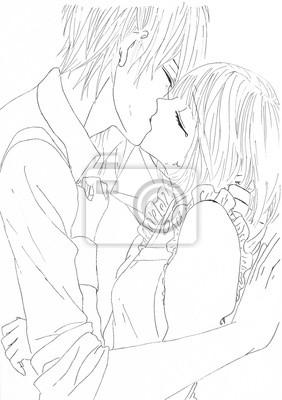 Küssen Kerl Mädchen Japanische Kerl Und
