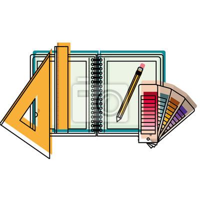 Zeichnung Notebook Lineal Bleistift Schule Buro Zeichnen Werkzeug
