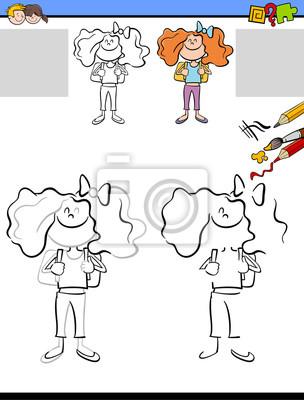 Zeichnung und färbung arbeitsblatt fototapete • fototapeten Teenager ...