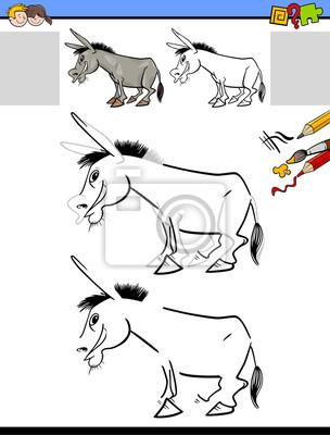 Zeichnung und färbung arbeitsblatt mit esel fototapete • fototapeten ...
