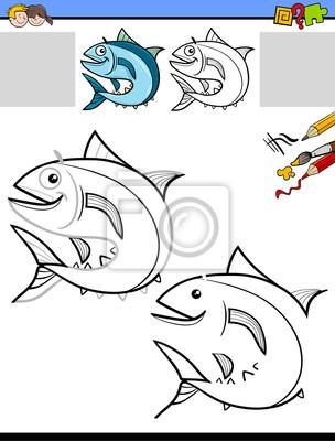 Zeichnung und färbung arbeitsblatt mit fisch fototapete ...