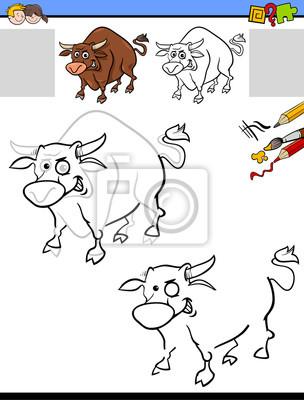 Zeichnung und färbung arbeitsblatt mit stier fototapete ...