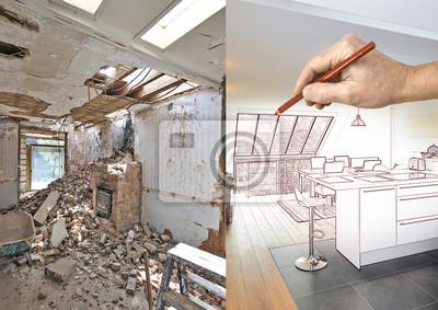 Zeichnung und geplant moderne offene küche im renovierten ...
