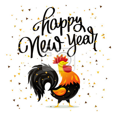 Zeichnung von hahn und zitat happy new year fototapete • fototapeten ...