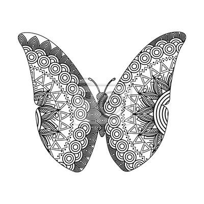 Zeichnung zentangle für schmetterling erwachsenen färbung seite ...