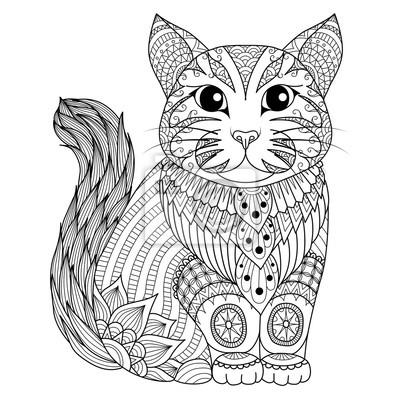 Zeichnung zentangle katze für färbung seite, shirt-design-effekt ...