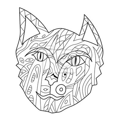 Zeichnung zentangle persische katze gesicht für malvorlage seite