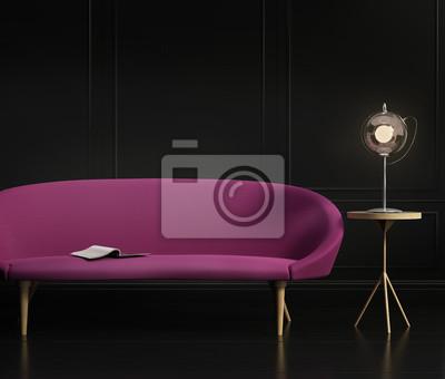 Fototapete Zeitgenössische Dunkel Elegant Wohnzimmer, Mit Einem Lila Grau  Sofa,