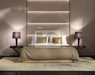 Fototapete Zeitgenössische Gold Und Violett Hotel Luxus Schlafzimmer