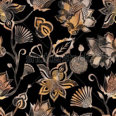 Fototapete Zeitgenössisches ethnisches nahtloses Muster mit Florenelementen.