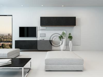 Zeitgenossisches Weisses Wohnzimmer Mit Ottoman Fototapete