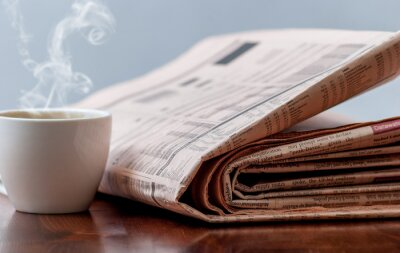 Fototapete Zeitung und Kaffee