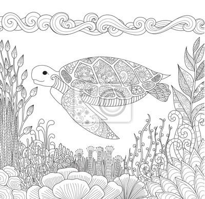 Zendoodle design der schildkröte schwimmen im meer und schöne ...