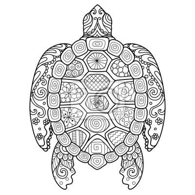 Zendoodle stilisierte schildkröte für t-shirt entwurf, tätowierung ...