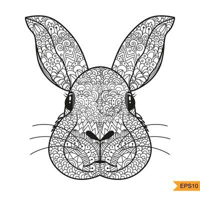Zentangle Kaninchen Kopf für für Erwachsene Antistress Färbung Seite