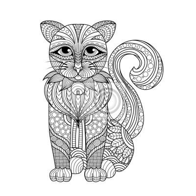 Zentangle katze für malvorlagen, shirt-design-effekt, logo, tattoo ...