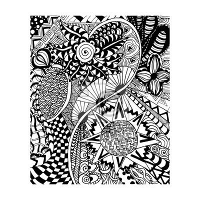 fototapete zentangle muster doodle florent stil hand zeichnen - Schone Muster Zum Zeichnen