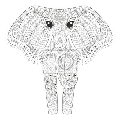 Zentangle Ornamental Elephant Für Erwachsene Malvorlagen Hand