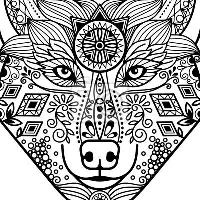 fototapete zentangle schwarzen kontur wolfskopf mit hand gezeichneten guata vektor ornament