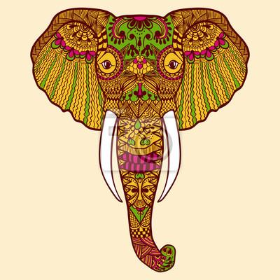 Zentangle stilisiert indischer elefant. hand gezeichnete spitze ...