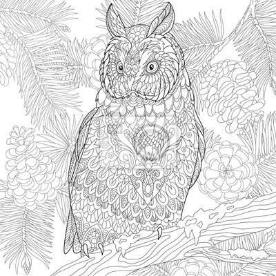 Zentangle Stilisierte Cartoon Adler Eule Sitzt Auf Hölzernen