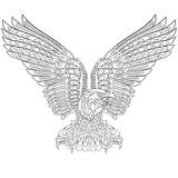 Hand Gezeichneten Adler Zentangle Für Ausmalbilder Für Erwachsene