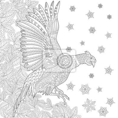 Zentangle stilisierte cartoon fasan vogel (hahn, phoenix), blätter ...