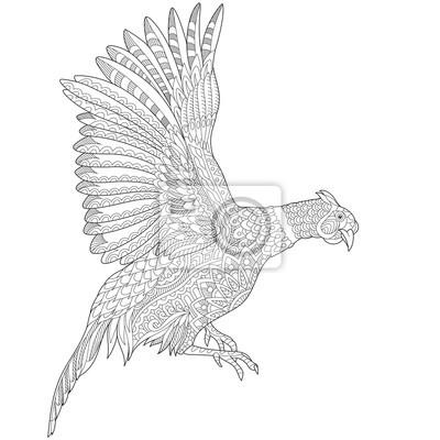 Zentangle stilisierte cartoon fliegenden fasan vogel (hahn, henne ...