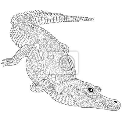 Zentangle stilisierte cartoon-krokodil (alligator) isoliert auf ...