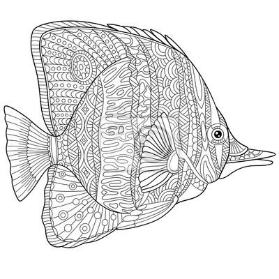 Zentangle stilisierte cartoon schmetterling fisch, isoliert auf ...