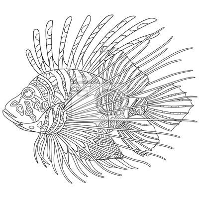 Zentangle stilisierte cartoon zebrafisch (lionfish, pterois volitans ...