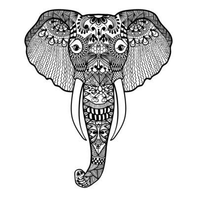 Fototapete Zentangle stilisierte Elefant. Hand gezeichnete Spitze Vektor-Illustration