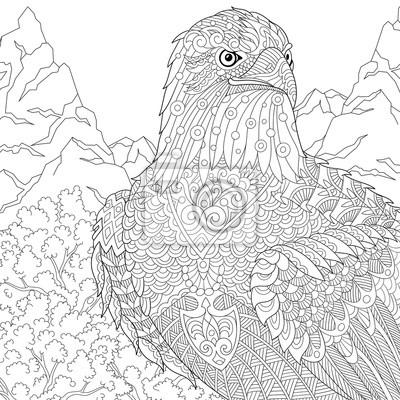 Zentangle stilisierte karikatur adler der beute (falke, falke ...
