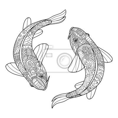Zentangle stilisierte paar fische. zwei koi karpfen. zen kunst ...