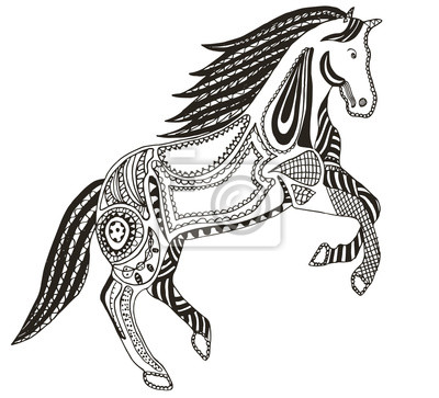 Zentangle stilisiertes pferd, strudel, illustration, vektor ...