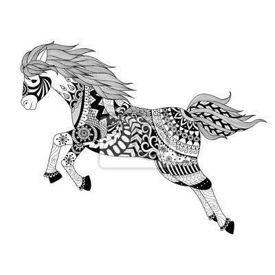 Zentangle stilisiertes springendes pferd für tätowierung, t-shirt ...