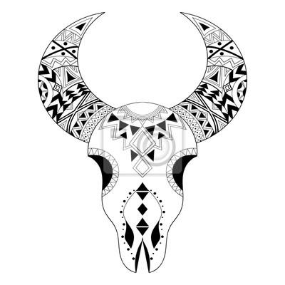 Zentangle Tier Schädel Freehand Boho Stammeskizze Für