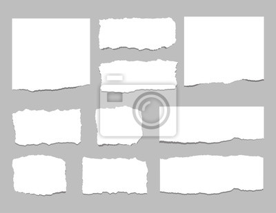Fototapete Zerrissene Blätter Papier. Zerrissene Papierstreifen. Vektor-Illustration