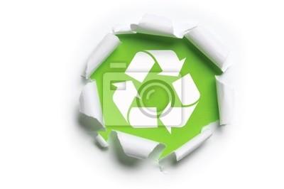 zerrissenen Papier mit Recycling-Logo