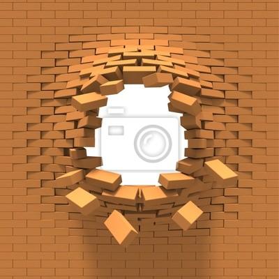 Zerstörung einer Backsteinmauer