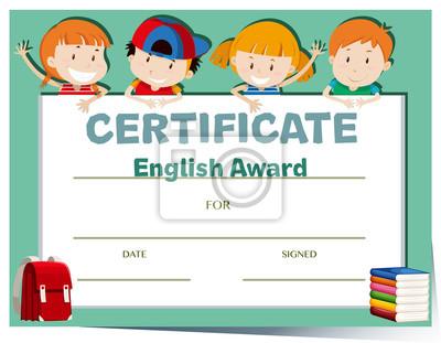 Zertifikatvorlage mit glücklichen kindern fototapete • fototapeten ...
