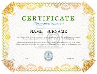 Zertifikatvorlage mit guillochelementen. gelb diplom grenze design ...
