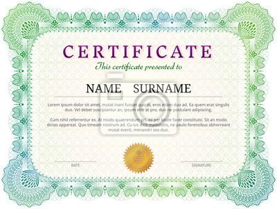 Zertifikatvorlage mit guillochelementen. green diploma grenze ...