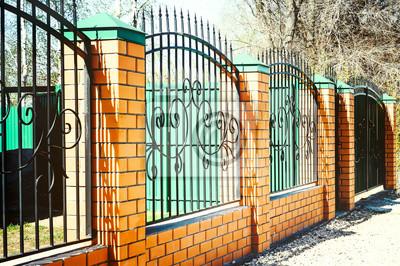 Ziegel Und Metall Zaun Mit Tur Und Tor Der Modernen Stil Design