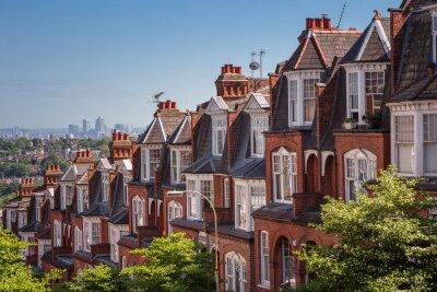 Fototapete Ziegelsteinhäuser auf einem panoramischen Schuß von Muswell Hügel, London, Großbritannien