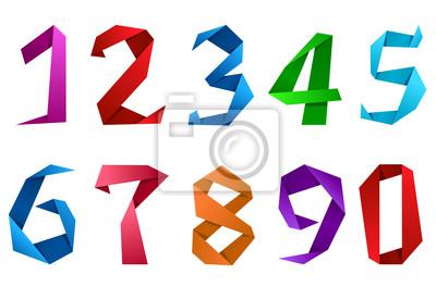 Ziffern und Zahlen in Origami-Stil
