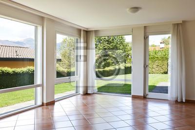 Zimmer Mit Terrakotta Boden Fenster Mit Blick Auf Den Garten